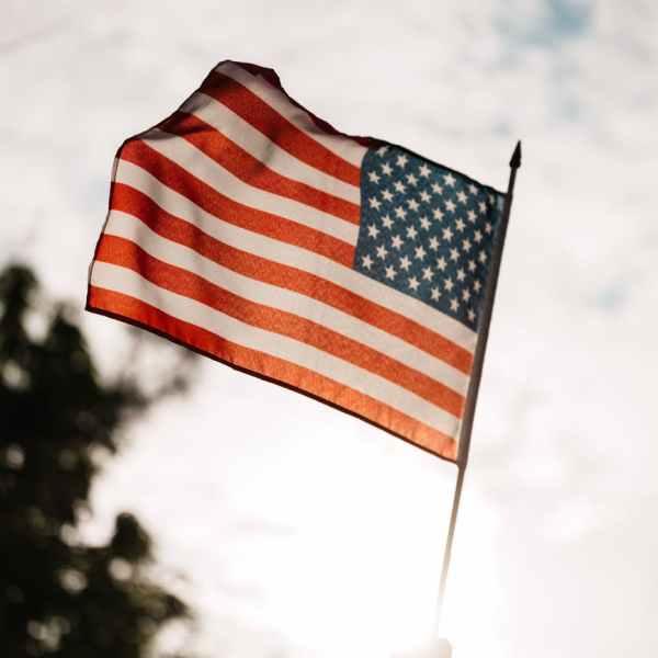 crop unrecognizable patriot celebrating memorial day showing american flag